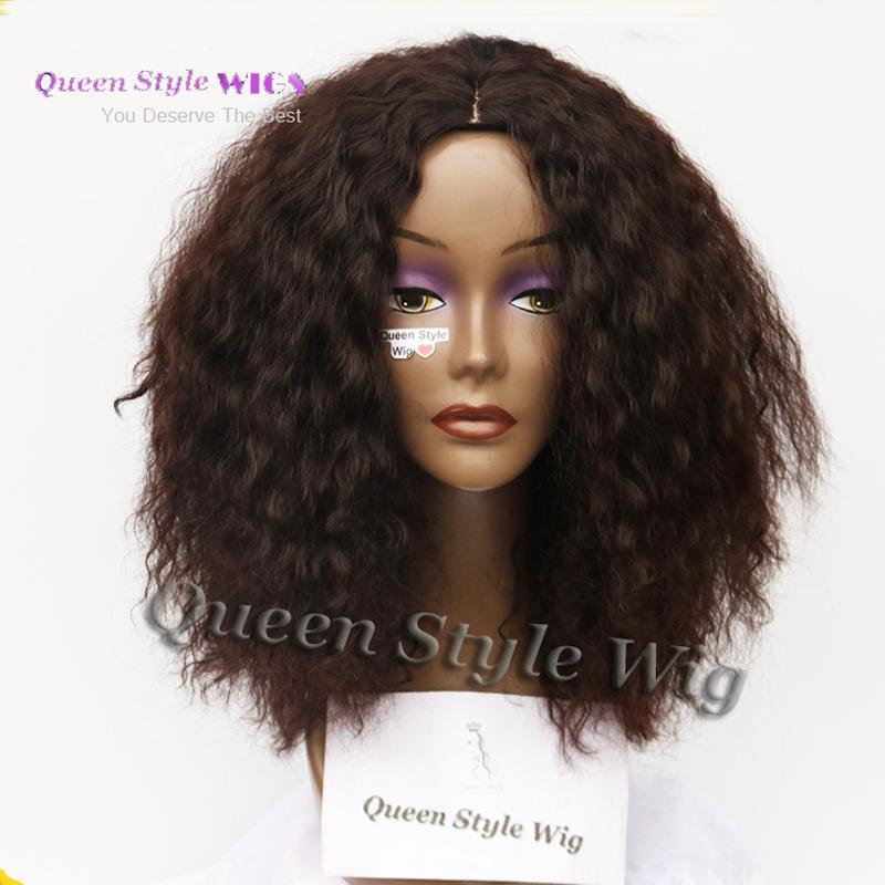 Vendita calda Sintetico Crespo Afro Riccia Marrone Colore Parrucca di Hiarstyle di Beyonce Parrucca Afro Ricci crespi Parrucche personalizzate africane