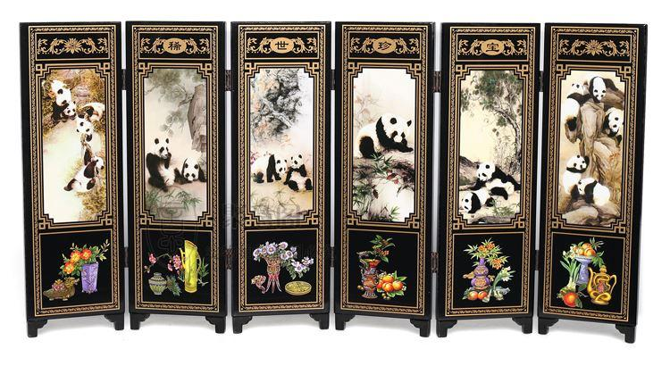 Antique lacquer wooden decoration Chinese small screen special gifts to send foreigners gifts six panda fan