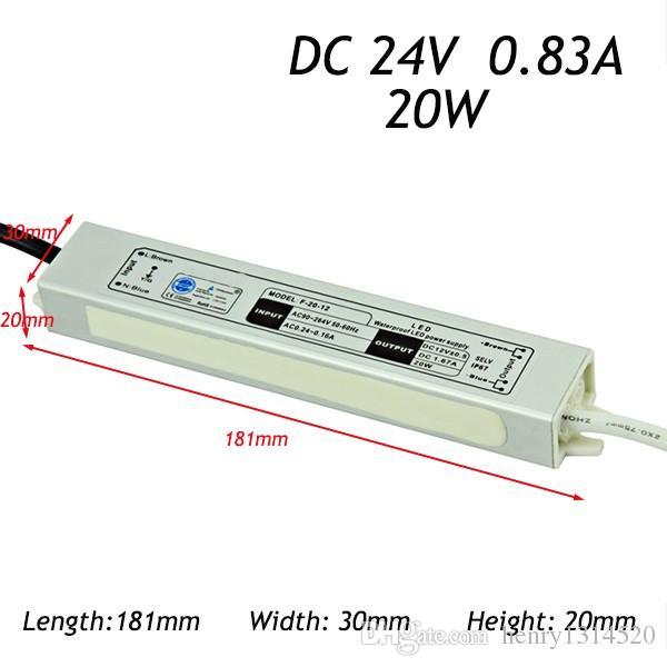 100 Adet / grup IP67 24 v 12 V 20 W AC100-240V Giriş Elektronik Su Geçirmez Led Güç Kaynağı / Led Adaptörü ücretsiz fedex nakliye maliyeti