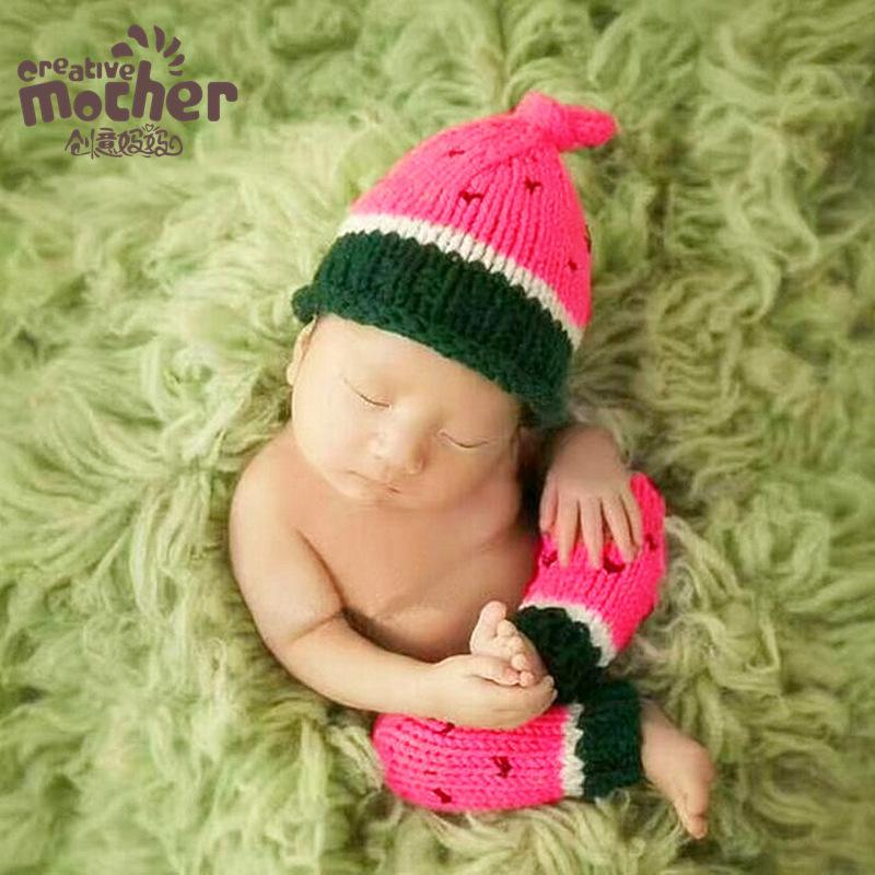 2018 newborn photography props handmade knitting watermelon modeling baby photo clothes accessories european baby crochet photo outfits from opps mybaby