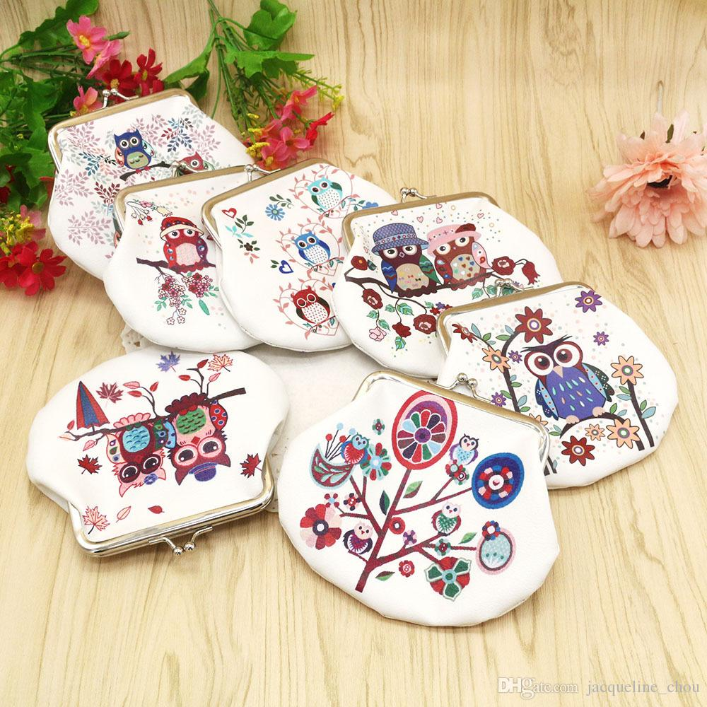 Fashion printing cartoon owl coin bag lady clutch small size hand bag mix colors high quality leather buckle key wallet lqb-0812