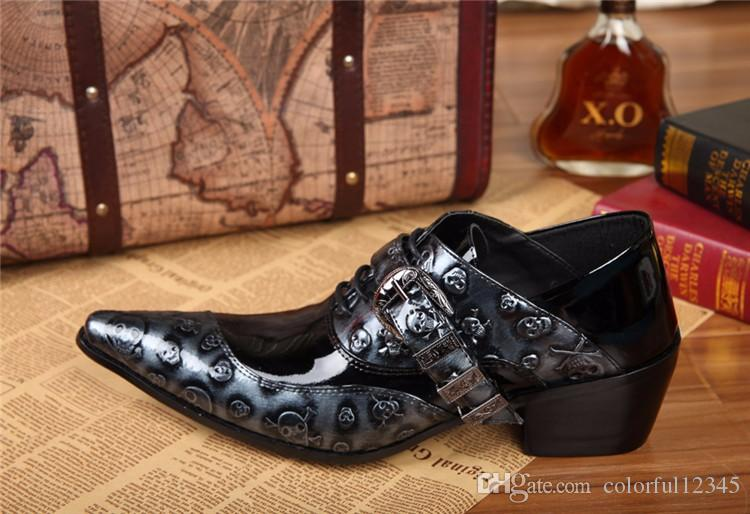 neue Herrenmode Formal Schuh-echtes Leder-Schädel-Schuh-Schwarz-Wohnungen Männer Male Oxfords Schuhe