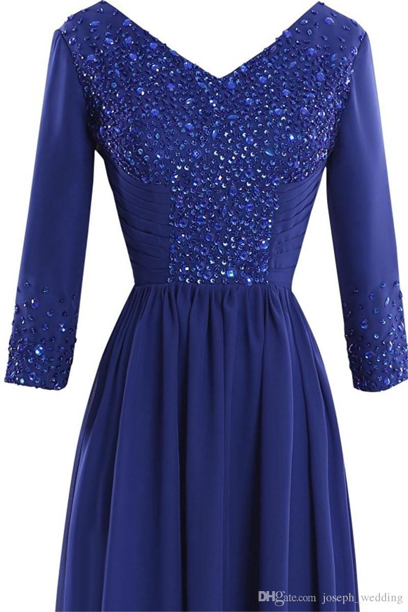 Manga larga de los vestidos de noche 2017 Vestido De Fiesta Longo Com Renda Royal Blue madre del vestido de novia de gasa