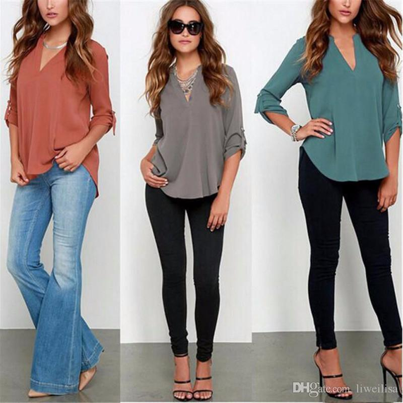 86783692d92 Women s Hipster Fashion V-neck Full Sleeve Tab Tied Cuff Loose Pullover  Casual Chiffon Blouse Female Vogue Top Shirt Plus Sizes Long-sleeve V-neck  Shirt ...
