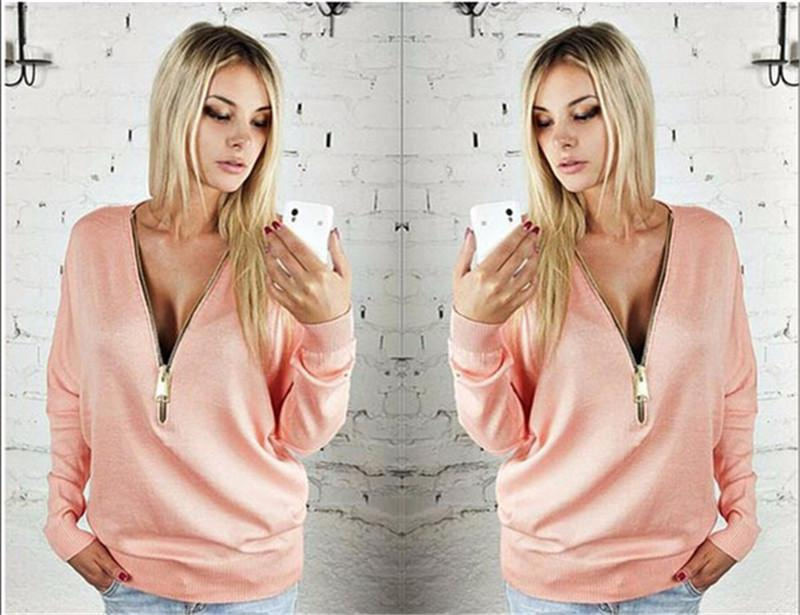 Lady Womens Jumpers Pullover Tops Blouse Ladies V-Neck Long Sleeve Hoodie Zip Up Sexy Deep V Neck Zipper Hoodies Sweatshirts Womens Clothing