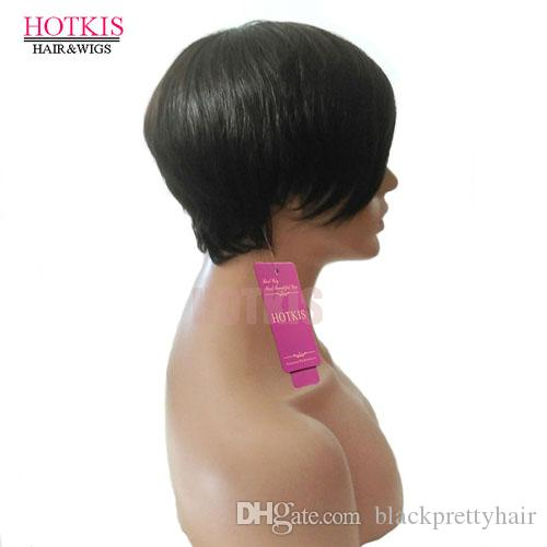 HOTKIS 100% Human Hair Short Wigs Glueless Short Hair Brazilian Hair Wigs Bangs Short Cut Wigs For Women
