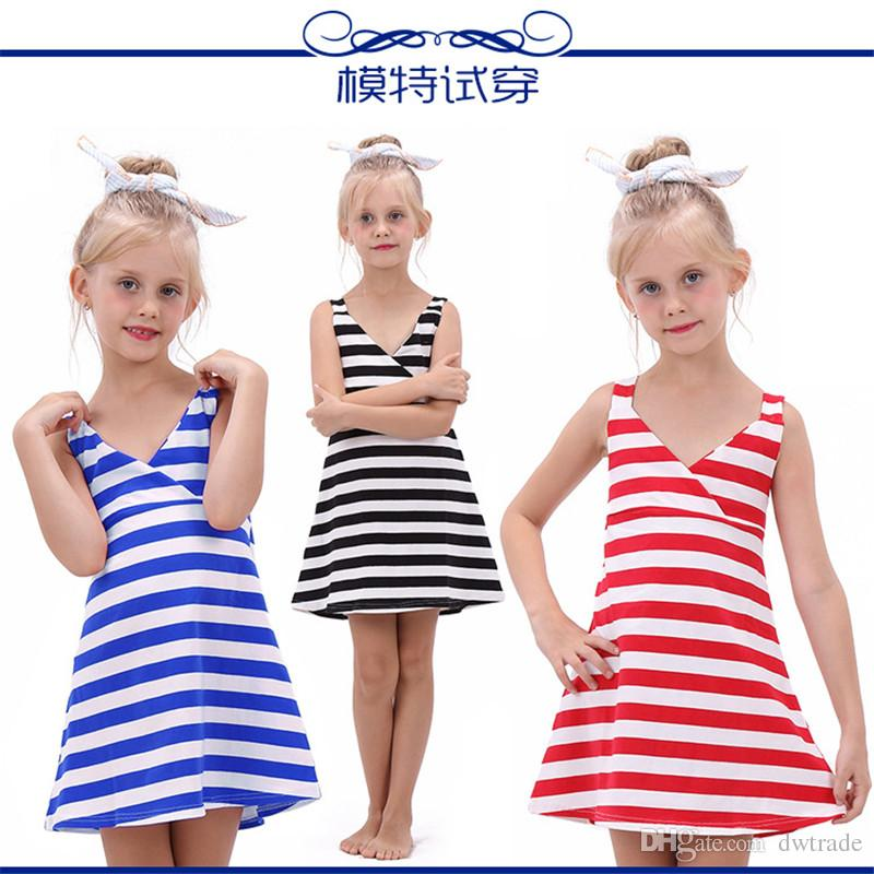 5b342b81da 2019 Kids Fashion Clothes Summer Beach Girl Dress Baby Girl Clothing  Children Dresses Stripe Party Dresses For Girls Baby Clothes Princess Dress  From ...