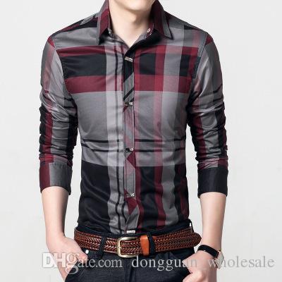 1f7094daa340 2019 2018 Men Plaid Shirts Men S Casual Shirt Slim Fit Chemise Homme Long  Sleeve Social Fashion Shirt Camisa Masculina Mens Clothing M~4XL From ...
