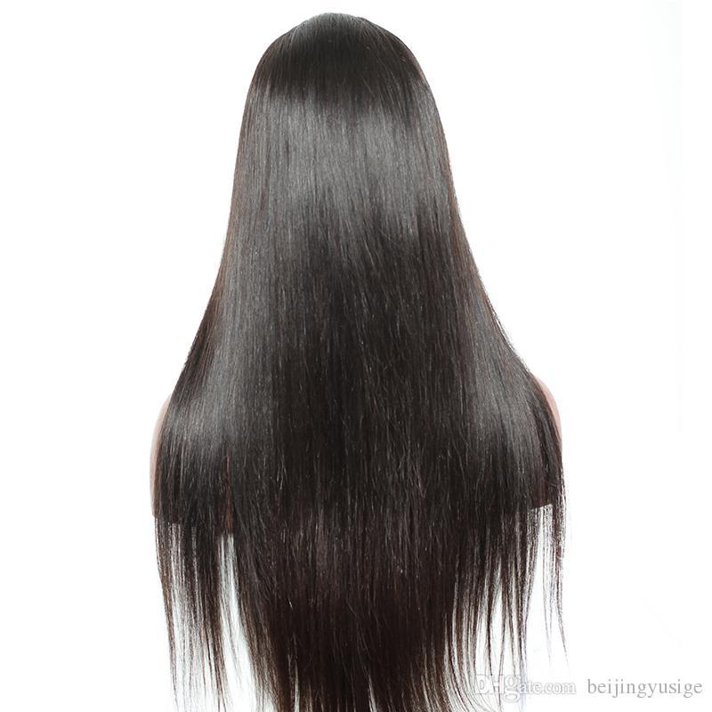 Heißer Verkauf 100% Indisches Haar Volle Spitze Front Perücke Seide Gerade Menschliches Haar Glueless Volle Spitze Perücke Mit Pony Für Schwarze Frauen