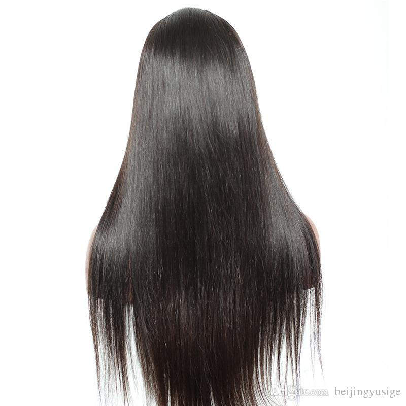 Hot Sale 100% Indian Hair Full Lace Front Wig Silk Straight Human Hair Glueless Full Lace Wig With Bangs For Black Women