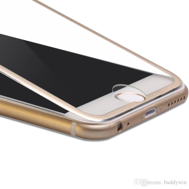 Proteggi schermo in vetro temperato pieno copertura in lega di titanio Proteggi schermo ultra sottile in 3D iphone 8 / 8plus / 7/7 / + 6/6 + / 5 / 5s