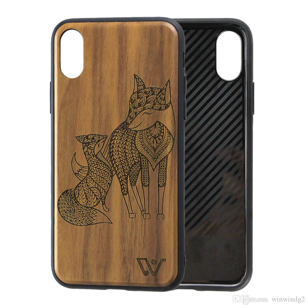 Premium Engraved Wood Design Case Phone Cover for iPhone X for iPhone 8 Luxury Mobile Wooden Cell Phone Case Accessories