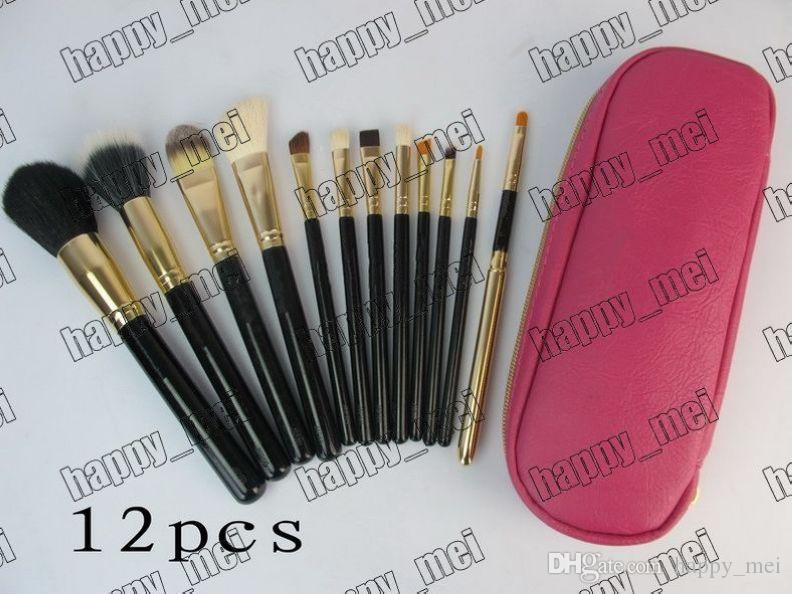 Factory Direct DHL Free Shipping Hot New Makeup Tools & Accessories Brushes 12 Pieces Brush With Pink Leather Pouch!