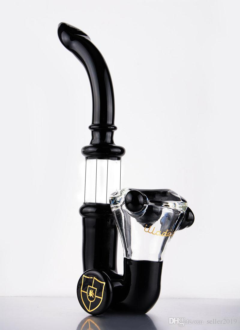 Glass bong amber black pipe small handy handle pipe smoking pipe for dry herb Hookahs 8 inches tall