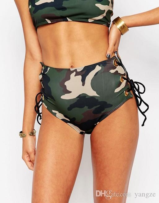 Brand New High Waist Bikinis Swimsuit Women 2017 Sexy Camouflage Print Bandage Swimwear Stylish Summer Beach Bikini Set Bathing Suits QP0213