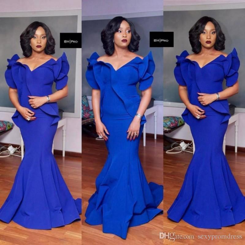 Royal Blue Mermaid Prom Dresses Plus Size en satin sud-africain Robe de soirée pas cher Longueur au sol Robe de soirée officielle