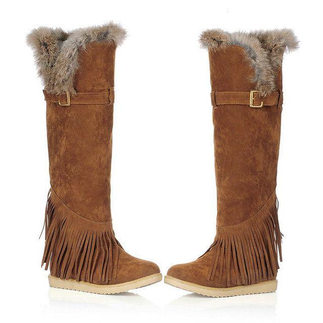 Chaussures d'hiver de la mode des femmes au-dessus du genou bottes glands daim longues bottes bottes de fourrure de lapin, taille: 34-39
