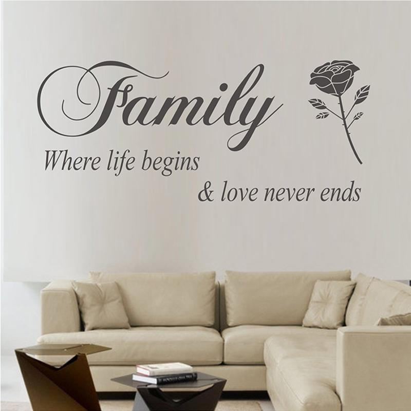 family where life begins love never ends quotes wall stickers home