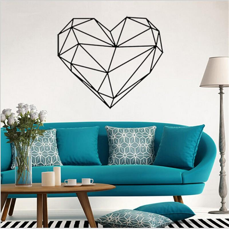 5749cm Creative Geometric Heart Shape Wall Stickers Home