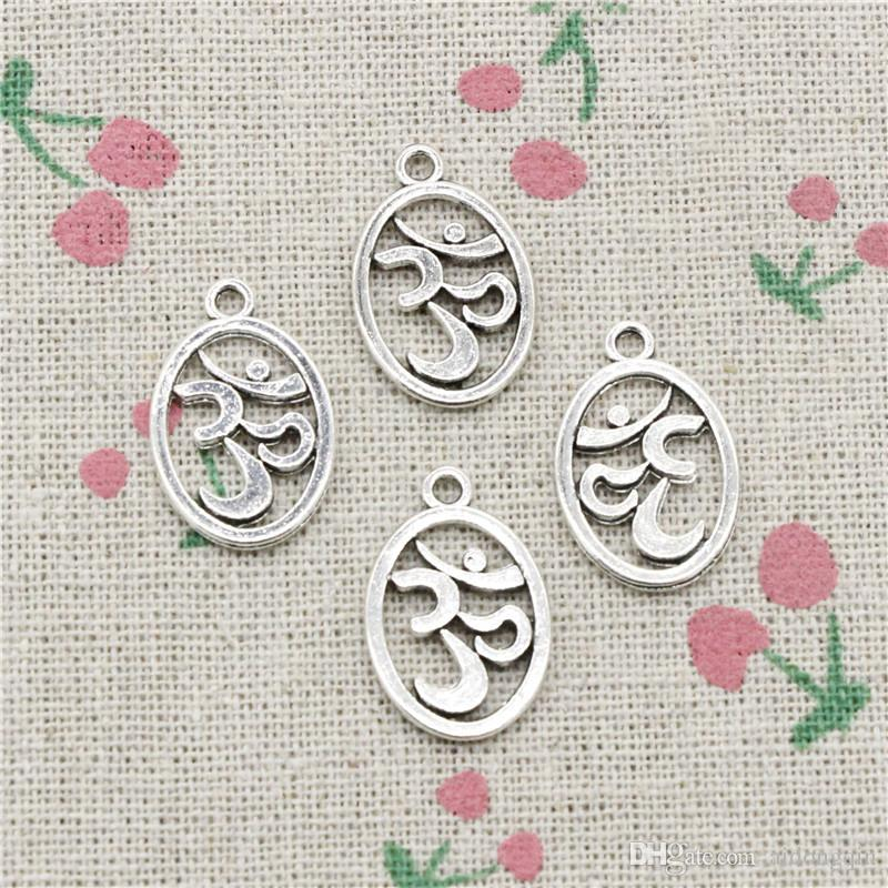115pcs Charms Yoga OM 22*14mm Antique Silver Pendant Zinc Alloy Jewelry DIY Hand Made Bracelet Necklace Fitting
