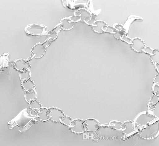 925 Ayar Gümüş Kaplama Charm Bilezik Bileklik Asılı At Bileklik Yüzük Zinciri Kadınlar için Bildirimi Takı Noel Hediyesi