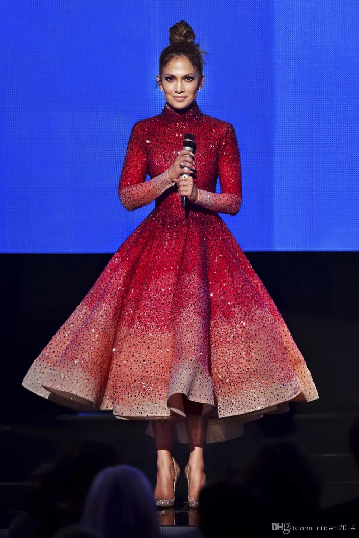 7ea97b63e9b3 2019 Formal Evening Wear Gowns High Neck Major Beaded Long Sleeve Tulle Tea  Length Prom Dresses Jennifer Lopez Haute Couture Evening Dress Evening Dress  ...