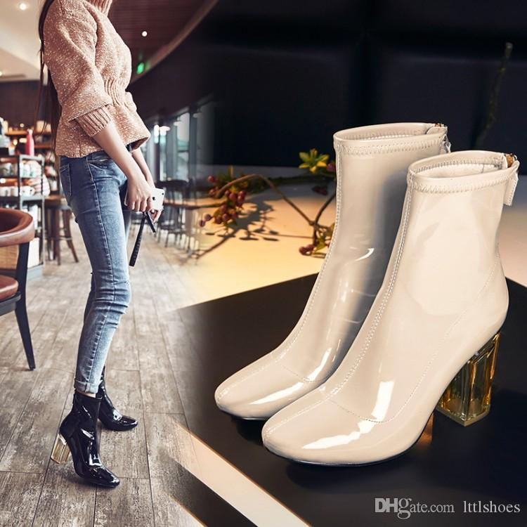 b258b424b956 Top Design Brand Nude Color Patent Leather Boots For Women High Heels Short Ankle  Boots Transparent Crystal Heels Party Boots Black Knee High Boots Chukka ...