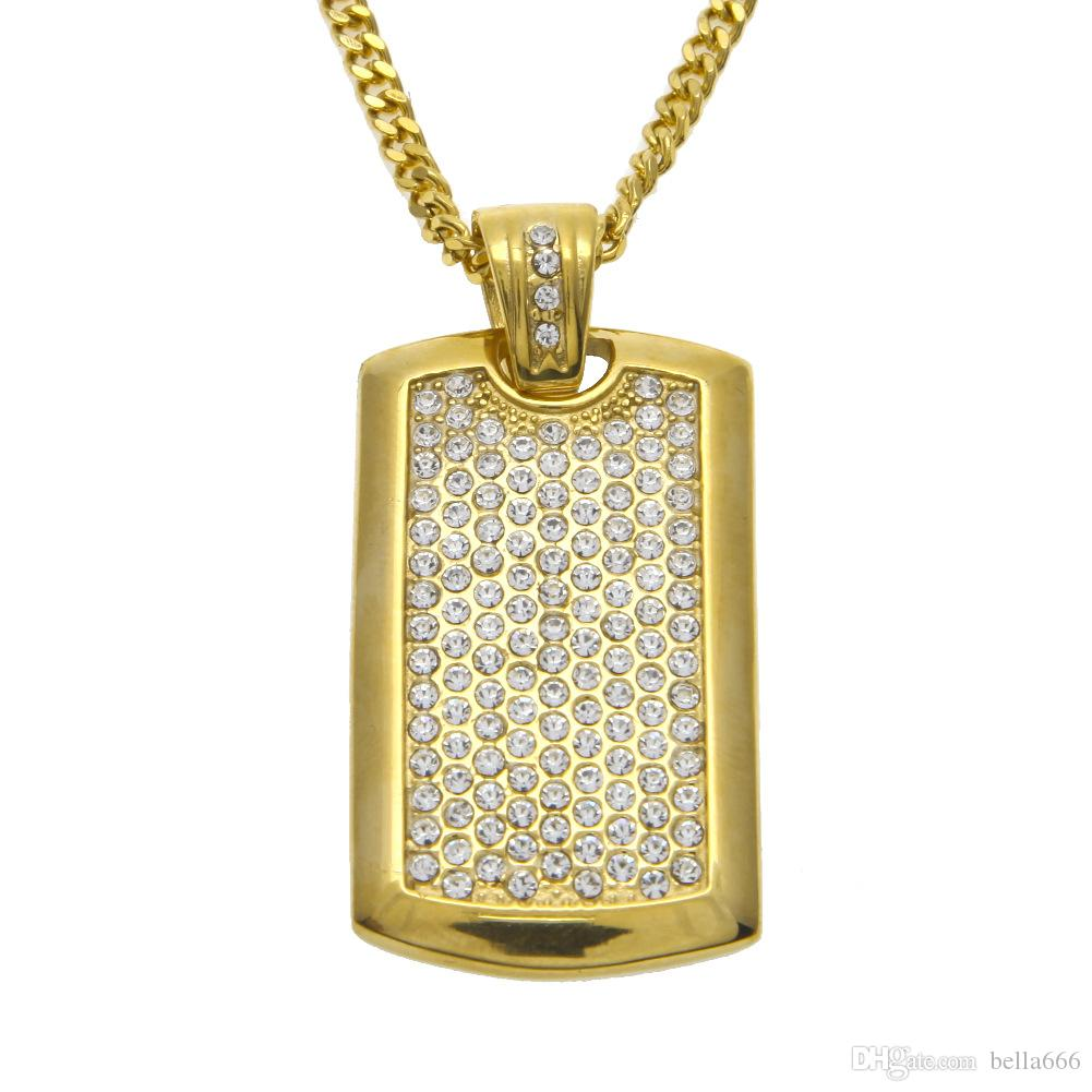 e1cfb1cb5 Wholesale Men Hiphop Rectangular Pendant Necklace Stainless Steel  Rhinestone Pendants Copper Cuban Chain Fashion Gold Color Jewelry Dog Tag  Gold Chains ...