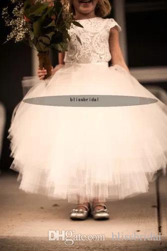 2017 New Arrival White Lace and Tulle Flower Girl Dress Short Sleeve Sash Layed Tutu Skirt Kids Formal Wear Dresses Custom Made