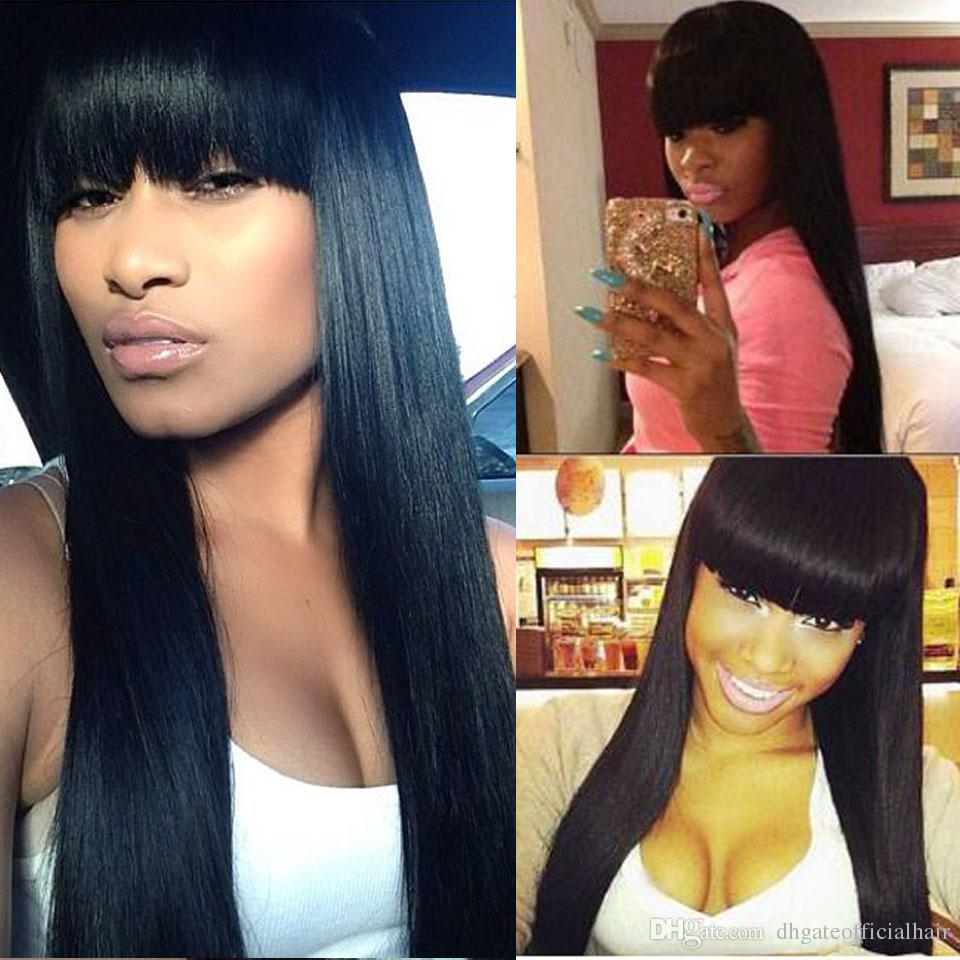 Cheap price 300 Full Density Unprocessed Brazilian Human Hair Lace Front Wigs Straight with bangs Lace Front Wigs 100% human hair