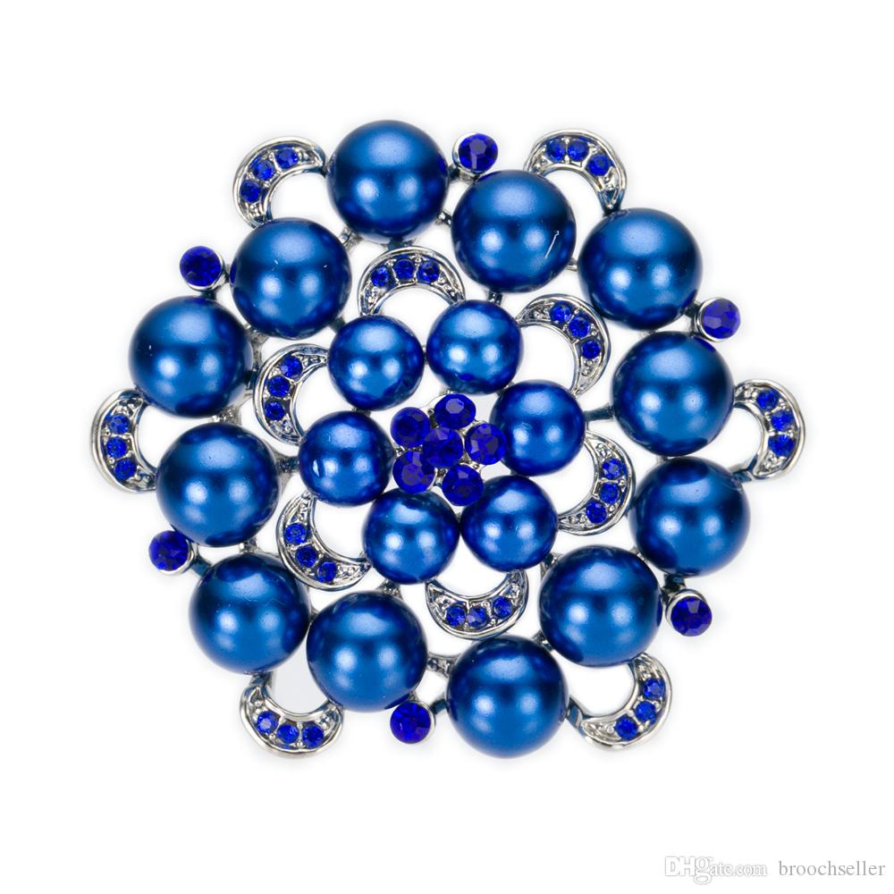 Verzilverd Royal Blue Crystal and Pearl Flower Bridal Broche