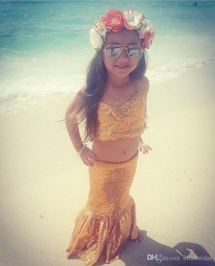 Two Piece Sparkly Sequins Mermaid Beach Wedding Flower Girls' Dress Spaghetti Kids Formal Dresses Girl's Floor Length Cute Skirt