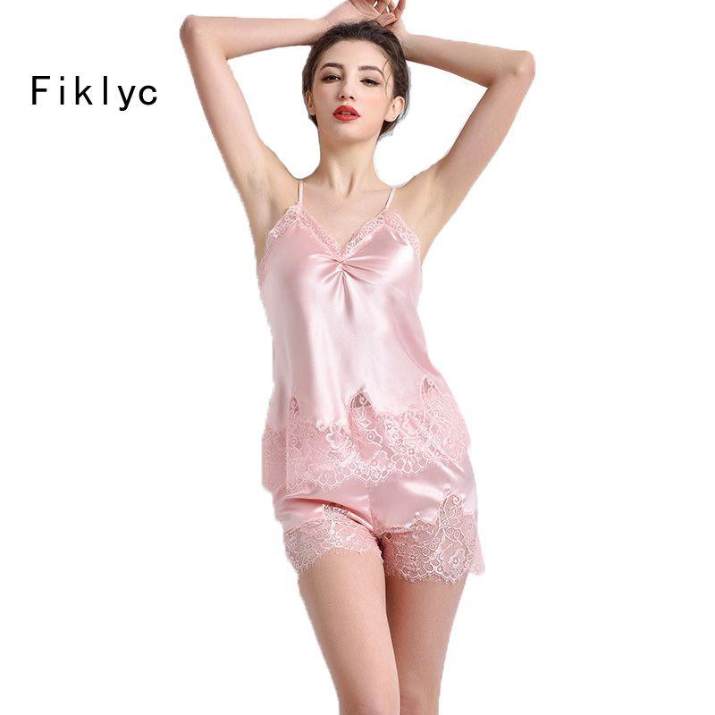 dca55ca545 2019 Wholesale Latest Design Sexy Women S Summer Pajamas Set Silk Satin Lace  Pijamas Set With Top + Short Pants Female Nightwear Plus Size Hot From  Sheju