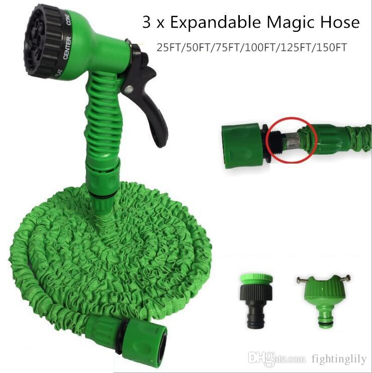 3x Expandable Magic Hose 25ft/50ft/75ft/100ft/125ft Irrigation System Garden Water Gun Pipe W/ 7-in-1 Spray Gun Nozzle