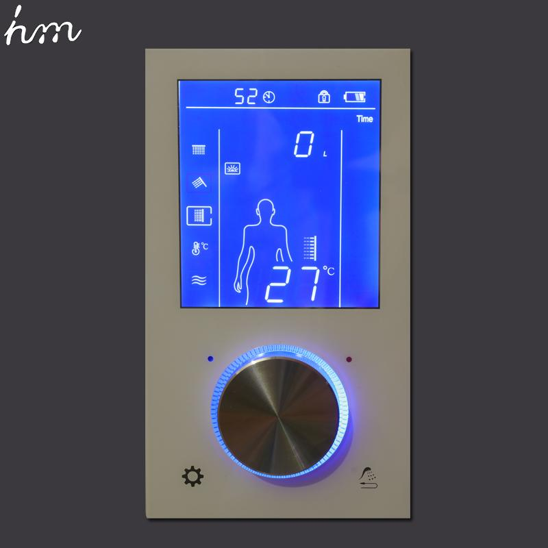 """3 Jets LED Intelligent Digital Display Rain Shower Set Installed in Wall 20"""" SPA Mist Rainfall Thermostatic Touch Panel Mixer"""