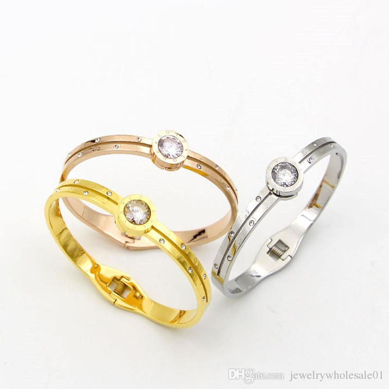 big crystal Rose Gold/Gold/Silver Color Woman Bracelet & Bangles Female Bangles Jewelry for women