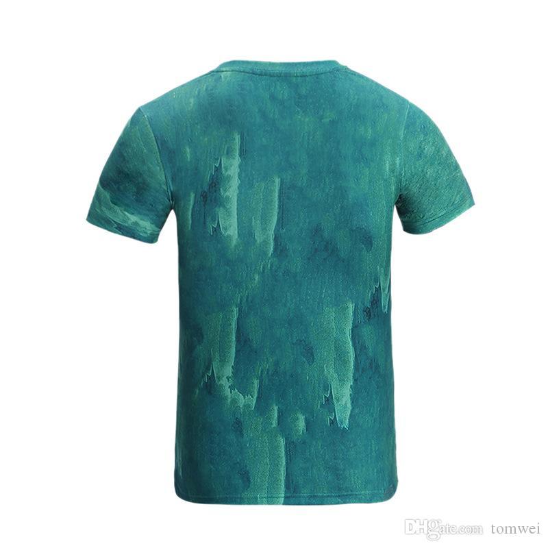 Хип-хоп Пальто Мужские Футболки 3D Lion Печати Топы Тис Пальто С Коротким Рукавом Уличная Дышащая Пот Новая Мода 2017 Зеленый