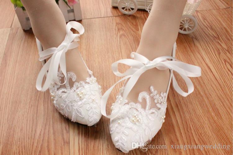 Chaussures de mariage en dentelle Ballerina plat cheville cravate ruban arc belle perle dentelle fleur broderie demoiselle d'honneur chaussures