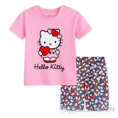 631be6b7832d Lovely Sports Kids Pajamas Set Girls Short Sleeve Summer Sleepwear ...