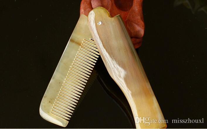 Livraison gratuite / Corne peigne Portable Pliant Peigne Anti-Statique Brosse à Cheveux À La Main Naturel Ox Corne Peignes