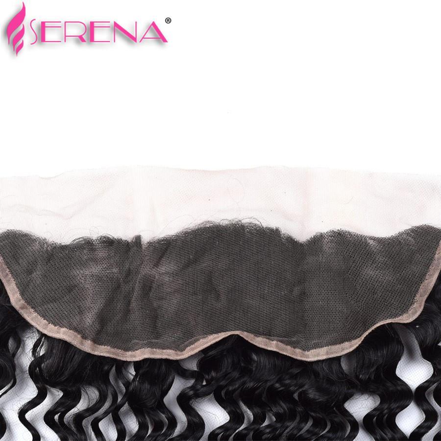 Бразильская глубокая волна кружева фронтальная закрытие с пучками 7А вьющиеся переплетения человеческих волос с фронтальной бразильской девственные волосы с закрытием