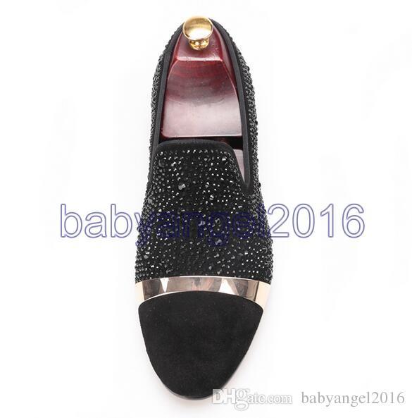 Handgemachte Black Diamonds Herren Wildleder Loafer Accessorized Gold Strap mit Satin und Leder Innensohle für Bankett und Prom