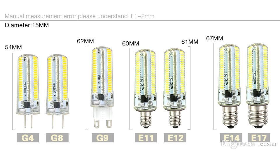 LED 조명 G9 G4 주도 전구 E11 E12 E17 14 개 G8 조광 램프 110V 220V 스포트라이트 전구 SMD 3014 64 152의 LED가 샹들리에 Sillcone 바디 빛