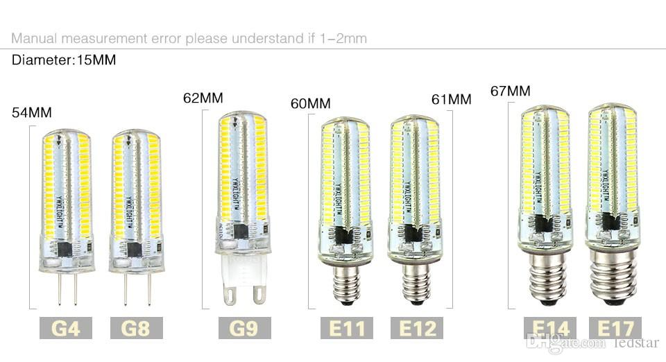 Led luz G9 G4 Led bombilla E11 E12 14 E17 G8 regulable lámparas 110V 220V foco bombillas 3014 SMD 64 152 Leds luz Sillcone cuerpo para lámparas