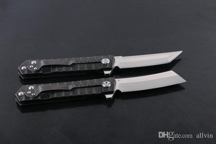 Top Quality Flipper Folder Knife Survival folding blade knifes D2 Satin Blade Steel handle EDC Pocket knives Ball Bearing Washer