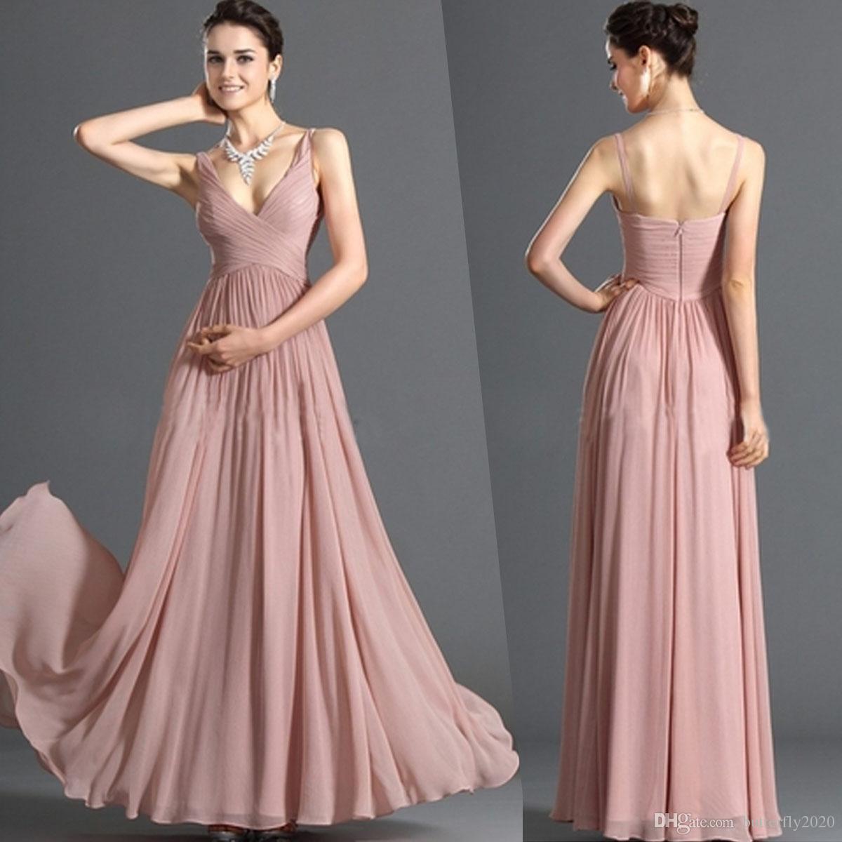 Compre Skin Pink A Line Gasa Vestidos De Dama De Honor Correa De ...