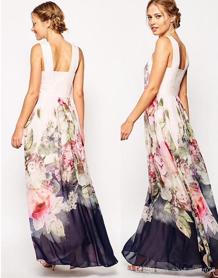 2017 Summer Floral Print Maxi Dresses Womens Beach Club Casual Loose ...