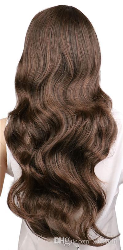Femmes Dames Longues Frisé Cosplay Natrual Noir Brun Clair Brun Foncé 70 Cm Perruques Cheveux Synthétiques