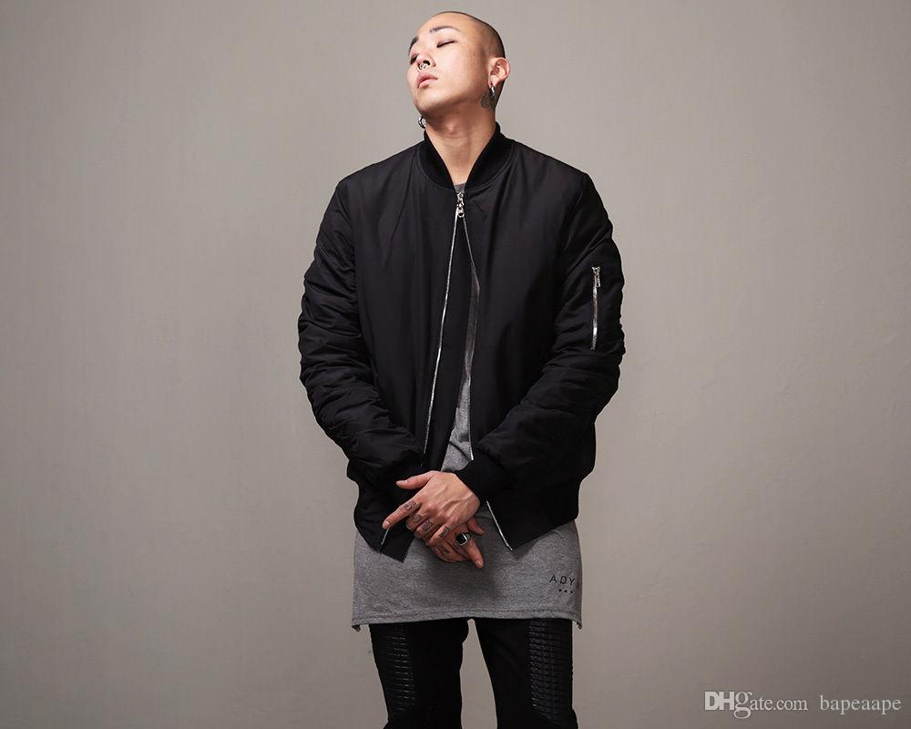 Mens Jacket Fashion Hi-Street Mens Military Style MA1 Bomber Hip Hop Jacket Black Mens Slim Fit Hip Hop Varsity Baseball Jacket