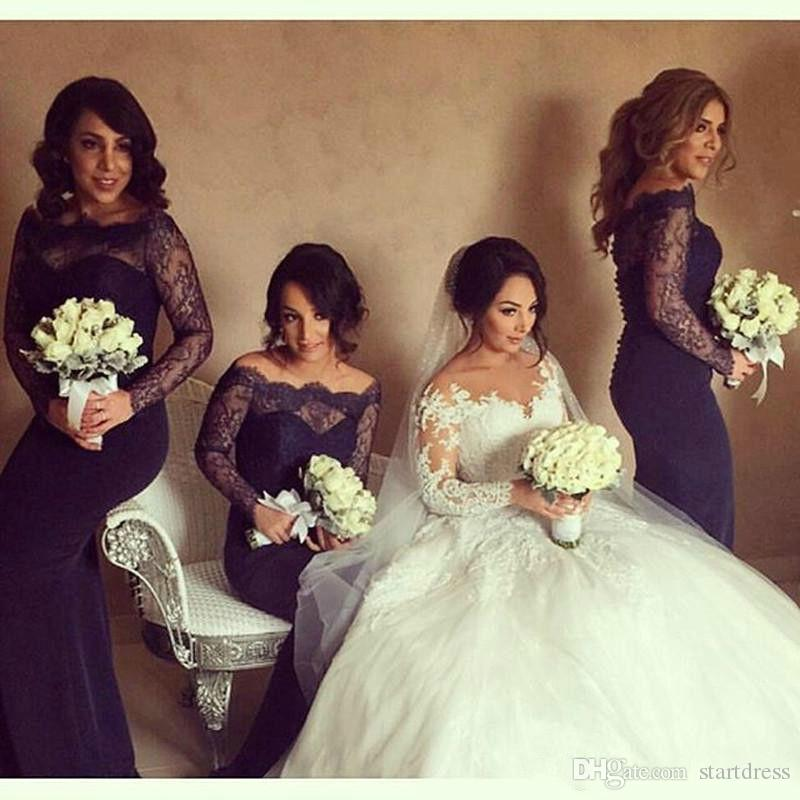 Fancy Country Navy Blue Mermaid Prom Dresses See Through Neck Lace Long Sleeve Evening Gown Cheap Arabic Dresses Evening Wear 2018 For Women